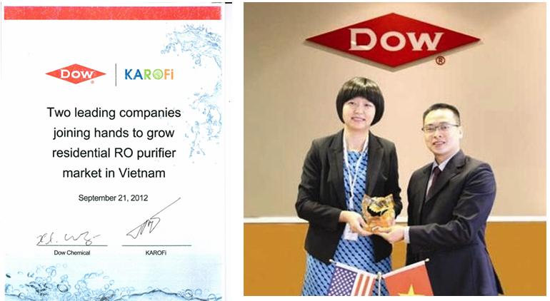 Tổng Giám Đốc và tiến sĩ Wang Xiaolian & hình ảnh chứng nhận Đối tác chính thức với DOW